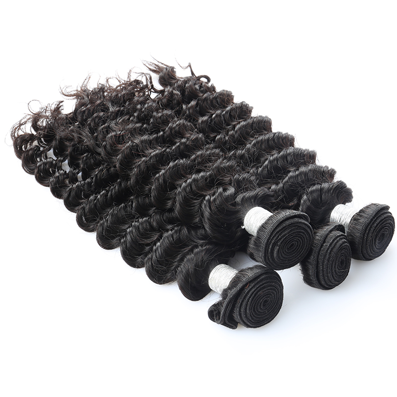 4 Pieces Deep Wave Bundles Brazilian Virgin Hair Extension Honey Queen Hair Products Natural Color Human Hair Weaving