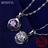 Rose Frau Halskette 925 Sterling Silber Charm Blume Anhänger Silber Halskette 7mm Zirkon Frauen Modeschmuck