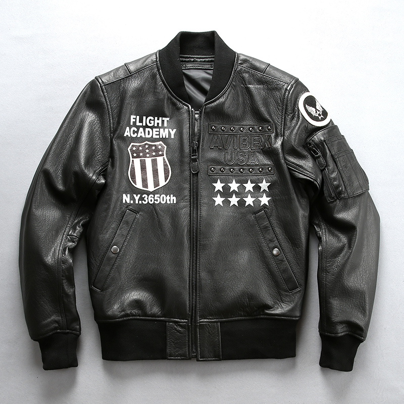 Jacket Flight Genuine-Leather Biker-Coat Motorcycle Vintage Brand Male Classic Sheepskin