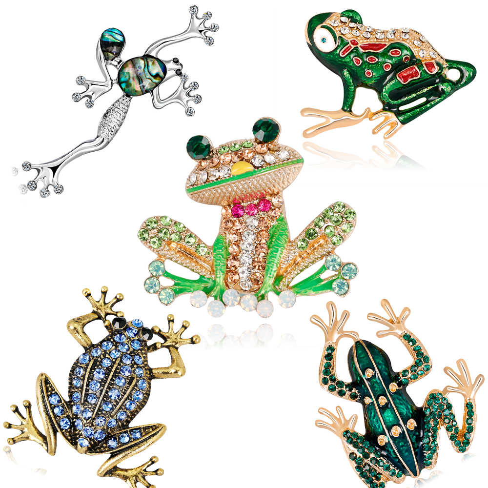 Ajojewel Golden/Silver Alloy Rhinestones Frog Brooch Enamel Animal Jewelry for Women Men Clothes Scarf Collar Party Gift