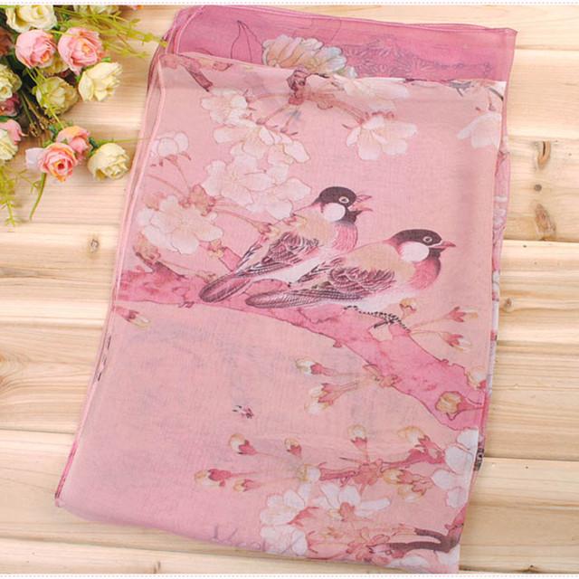 2017 New Women Chiffon Floral Printed Designer Scarf Summer Beach Gradient Plaid Flower Casual Silk Scarves Long Wrap Pashmina