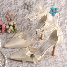 Wedopusรองเท้าเปลือยผู้หญิงส้นเท้าแหลมสำหรับงานแต่งงานด้วยริบบิ้นD Ropshipping