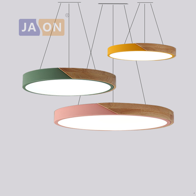 LED Modern Macaron 2 In 1 Iron Wood Acryl Round LED Lamp LED Light.Pendant Lights.Pendant Lamp.Pendant light For Dinning Room