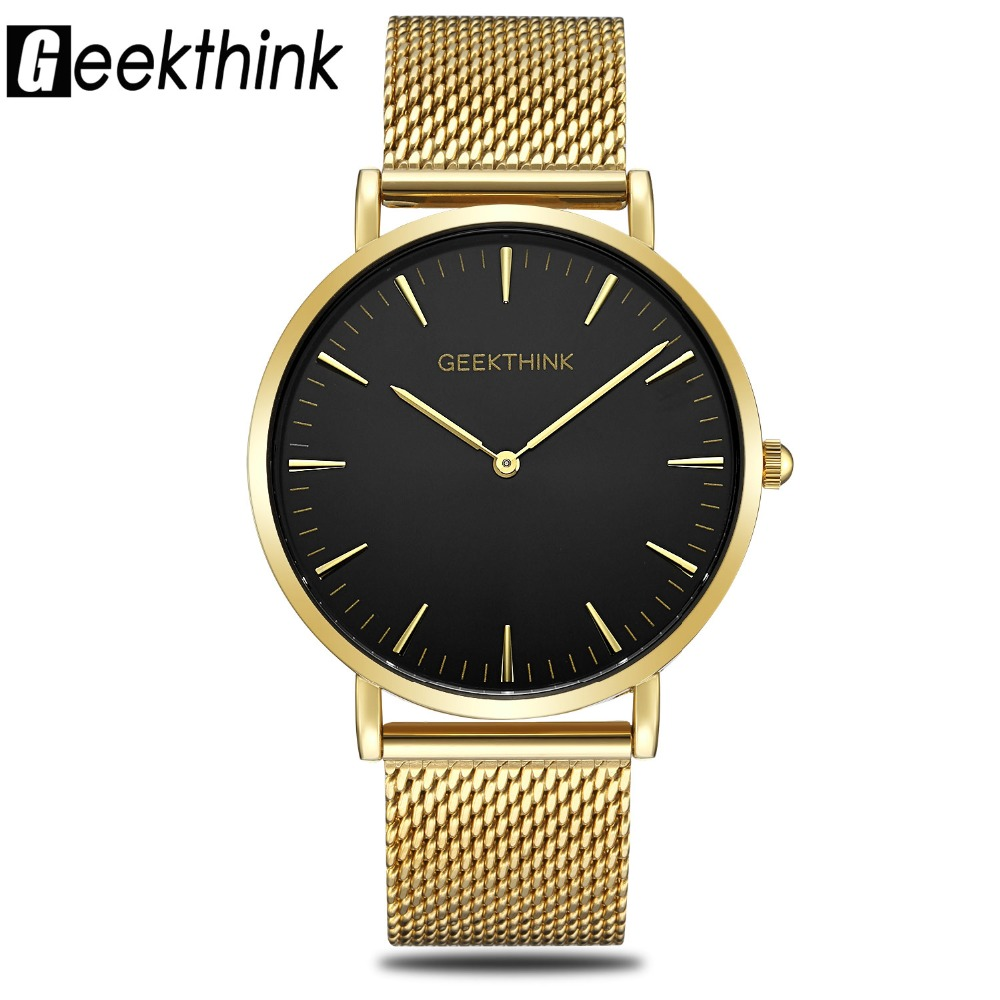 Top Luxury Brand Quartz Watch Men's Gold Black Casual Japan Movt stainless steel Mesh Band Wrist Watch ultra thin clock male New top luxury brand quartz watch men black casual japan movt stainless steel mesh strap ultra thin clock male man horloges mannen