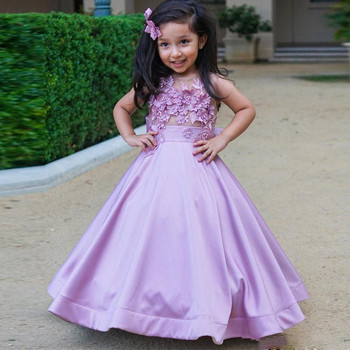 Purple A Line Little Girls Birthday Party Dress O Neck Sheer Lace Applique Ankle Length Kids Pageant Gown Custom Made Size