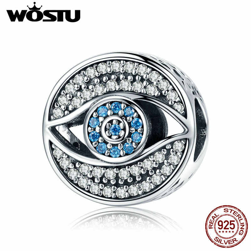 WOSTU Romantic 925 Sterling Silver Lucky Blue Eye Clear CZ Guarding Charm Beads fit Women Charm Bracelet DIY Jewelry CQC565