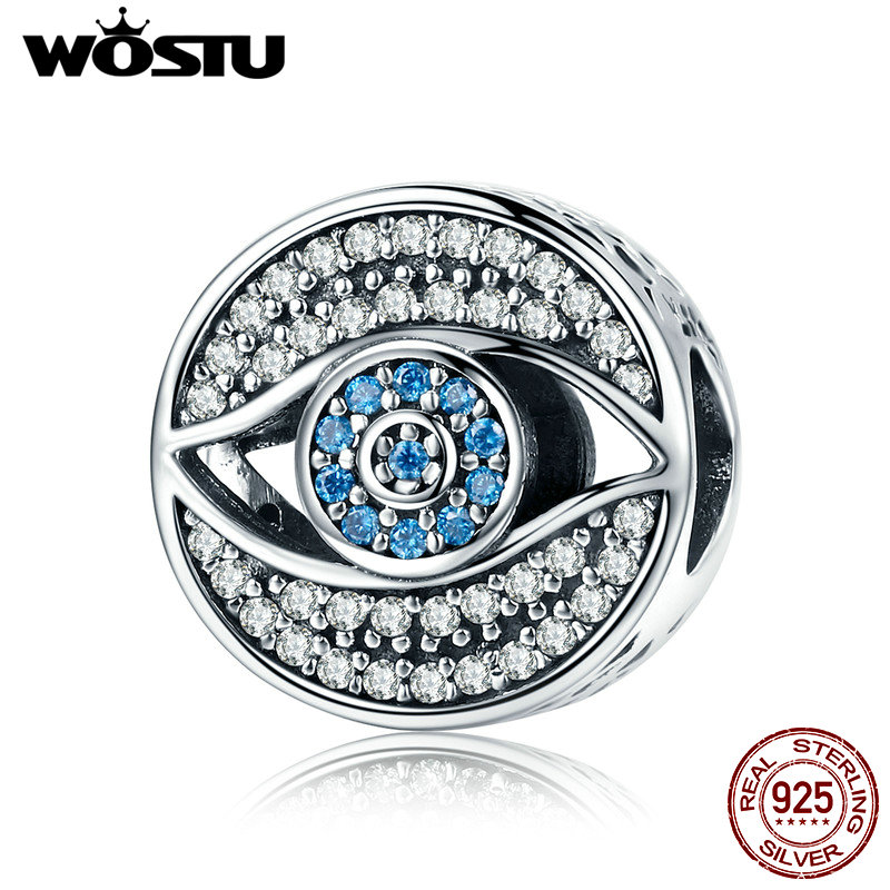 WOSTU Romantic 925 Sterling Silver Lucky Blue Eye Clear CZ Guarding Charm Beads fit Women Charm Bracelet DIY Jewelry CQC565 blue cz evil eye disco charm cz cross dainty silver chain girl women evil eye jewelry 925 sterling silver lucky eye necklace