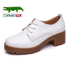 MOZOEYU Классический Черный Белый Женщины Повседневная Обувь Мода Мелкой шнуровке Женщины Оксфорд Обувь Толстым Дном Прочные Плоские Туфли женщины