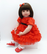 цена на 22inch red dress Reborn Doll 56cm Lifelike Bebe Reborn Handmade Baby Toy Girl Silicone Babies Special Gift Doll  brinquedos bjd