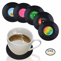 Upors 6Pcs/Set Black Vinyl Record Coaster Retro Table Cup Mats Pads Decor Coffee Drink Placemat CD Record Drinks Coasters