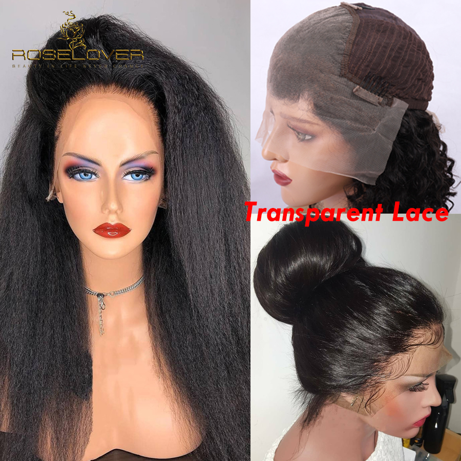 Transparent 13*6 Lace Front Human Hair Wigs Deep Part Kinky Straight Glueless Brazilian Remy Lace Wigs Pre Plucked Bleach Knots