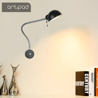 Artpad Minimalist Style Iron E27 Bulb Base Wall Mounted Light Bedroom Bedside Reading Wall Lamp Piano Desktop Wall Lighting
