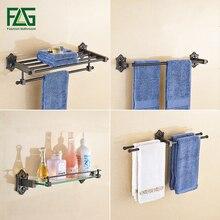 FLG Bathroom Hardware Black Bronze Brass Carved Base Towel Bar Robe hook Paper Holder Soap Dishes Wall Mounted Ring