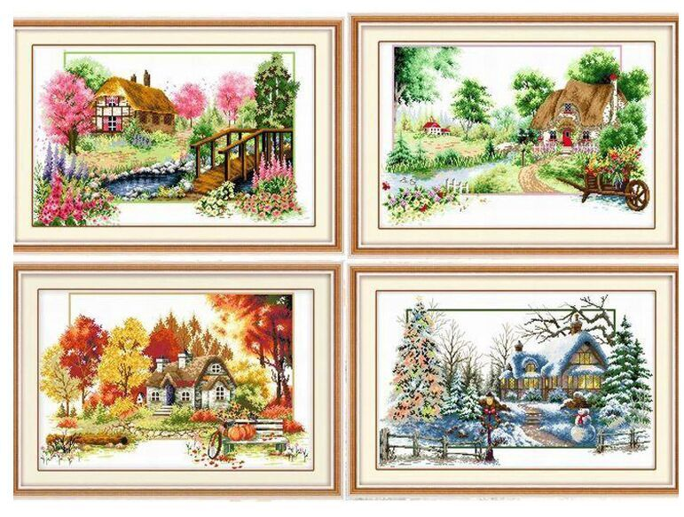 Needlework,DIY Cross stitch,Sets For Embroidery kits four seasons home decro Counted Cross-Stitching,factory direct sale