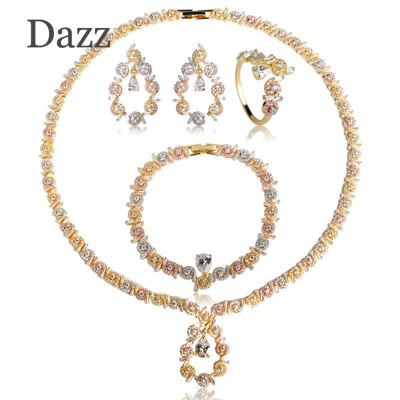 Dazz Luxury Water Drop Women Nigerian Jewelry Sets Wedding Naija Bride Dubai Cubic Zirconia Necklace Earring Ring Bracelet 4PCS