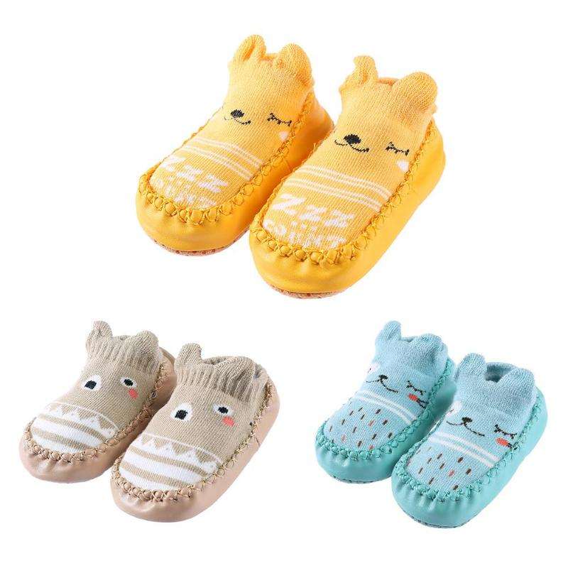 0-3y Herbst/winter Neugeborenen Schuhe Socken Mit Gummi Sohlen Säuglings Socke Neugeborenen Kinder Boden Socken Schuhe Anti Slip Weiche Sohle Socke üBerlegene (In) QualitäT