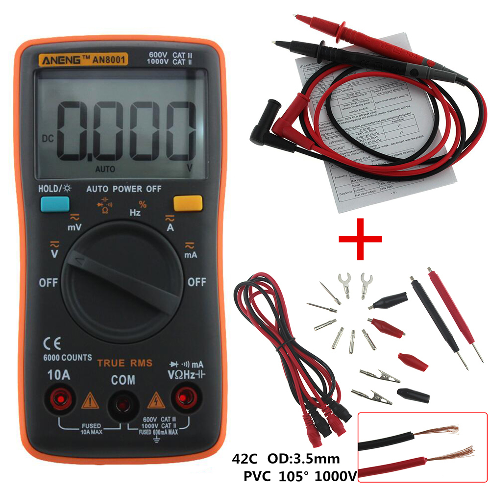 ANENG AN8001 Digital Multimeter 6000 Counts Backlight AC/DC Ammeter Voltmeter Ohm Portable Meter Crocodile clip test line professional and practical an8001 digital multimeter 6000 counts backlight ac dc ammeter voltmeter ohm portable meter