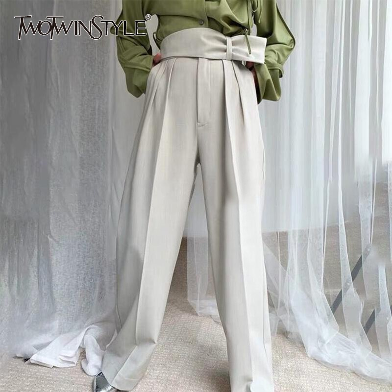 TWOTWINSTYLE Summer Solid Women Trousers High Waist Lace Up Big Size Wide Leg Pants Female Fashion Clothes 2020 Elegant New