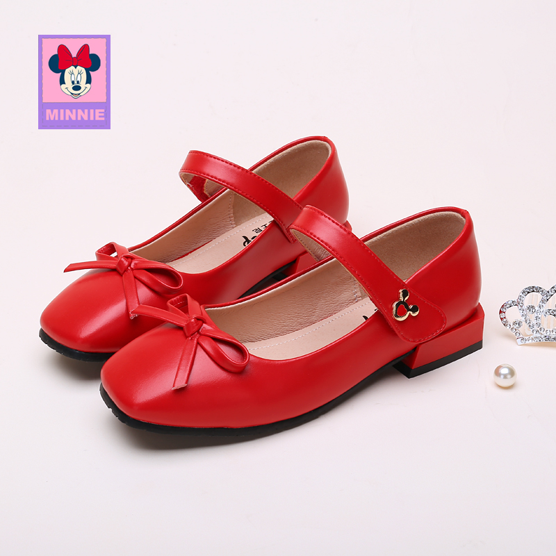 Disney Girls Bow Leather Shoes Children Shoes Spring Children's Show Comfortable Single Shoes Princess Leather Shoes Size 26-37 image