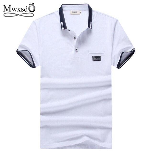 Mwxsd marca sólida gola polo camisa de algodão homens casuais verão-manga  curta camisa polo 23d843a396446
