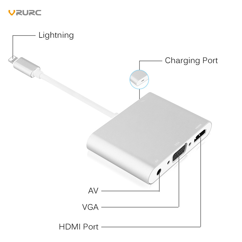 Date De Haute Qualité HDTV OTG Câble Pour La Foudre À HDMI VGA AV Audio Vidio Adaptateur Pour iPhone X Xs 8 7 Plus Pour iPad Série