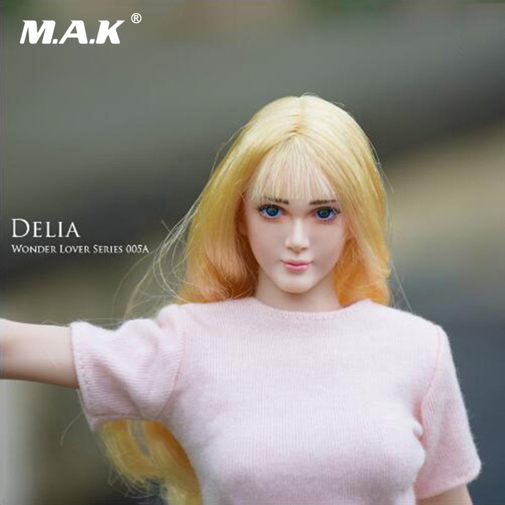 1/6 Scale WONDERY Female Head Sculpt with Movable Eye Girl Headplay Model Toys For 12 PH Action Figure dstoys d 005 1 6 scale female head sculpt beauty girl headplay long curly hair for 12 ht phicen action figure
