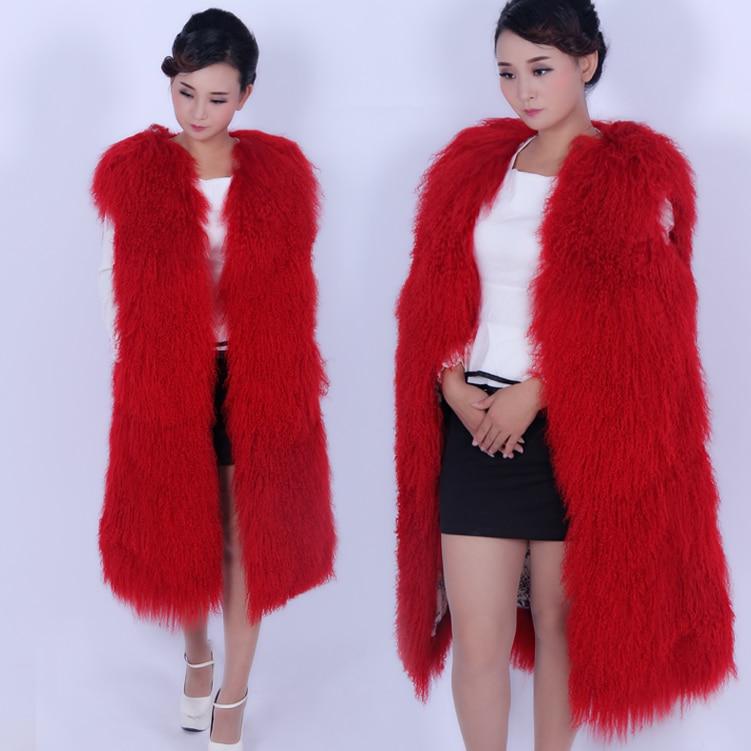Women long paragraph real beach wool round neck fur vest fur coat wool coat mongolian sheep fur waistcoat female