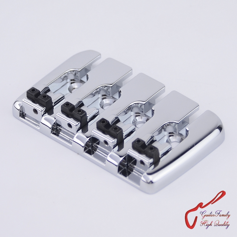 1 Set High Quality GuitarFamily  Bass Bridge For 4 Strings Electric Bass  Chrome  ( #0823 )   MADE IN KOREA