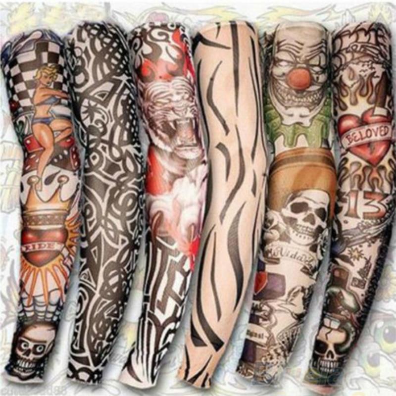 Men Male Popular Trendy Stylish Rock Punk Style Temporary Fake Slip On Tattoo Arm Warmers Sleeves 6 Pcs/lot 0491