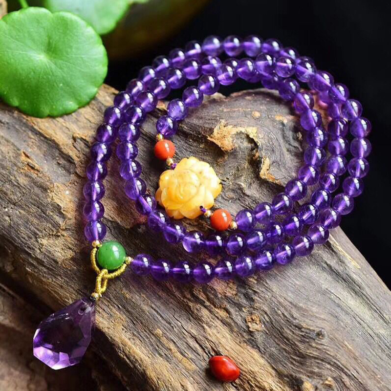 Fine Purple Natural Crystal Bracelets 6mm Round Beads Bracelet With Yellow Flower Lucky for Women Crystal Jewelry JoursNeige joursneige natural tourmaline bracelets crystal necklace for women women simple and fresh crystal bracelet multilayer jewelry