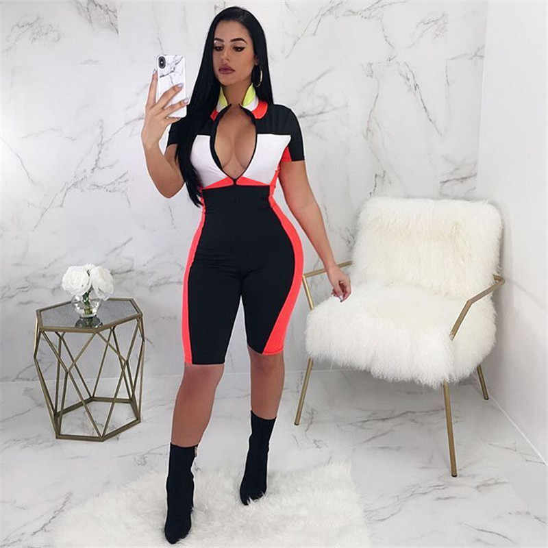 2018 Summer Playsuits Shorts Casual Rompers Sexy V-Neck Front Zipper Striped Bodycon Jumpsuit Fitness Workout Bodysuit Catsuit
