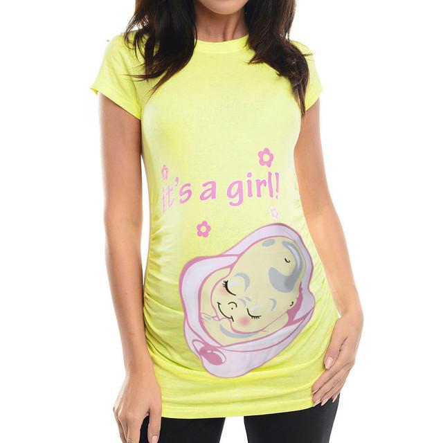 Las mujeres embarazadas camiseta Casual de blusa Tops maternidad auctor ID vestido embarazada Robe femme enceinte C5