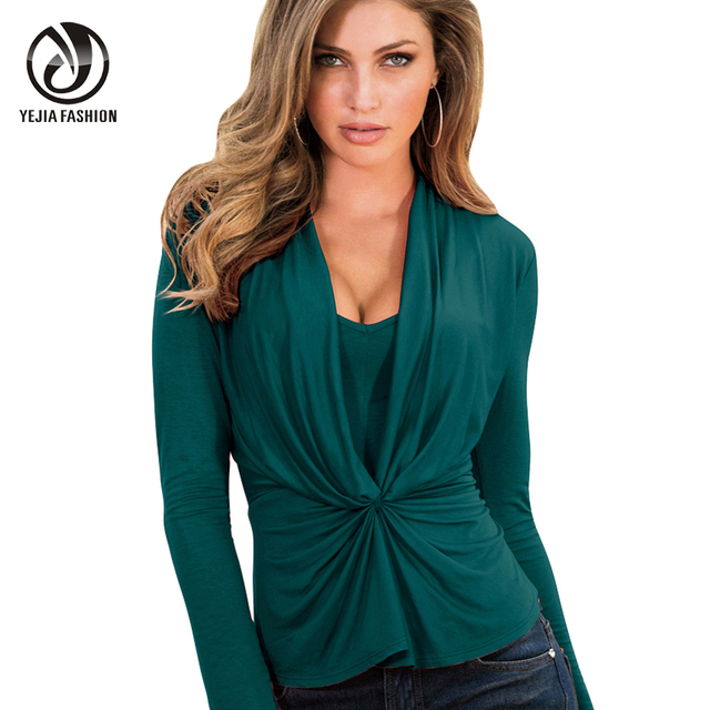 4770ee61d2346 YEJIA FASHION Skinny Green Shirts Women V Neck Long Sleeve Autumn Winter  Blusas 2017 Irregular Pleated Wrap Blouses Plus Size-in Blouses & Shirts  from ...
