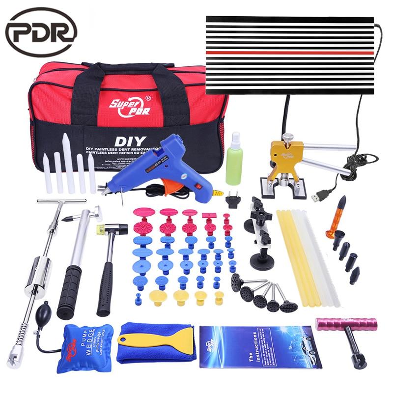 Ferramentas PDR Paintless Dent Repair Auto Repair Ferramenta DIY Kit de Reparo Do Corpo Do Carro LEVOU Lâmpada Refletor Board Kit Extrator Dente UE Pistola de Cola