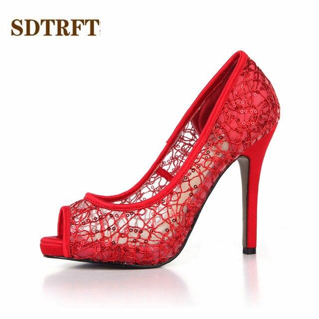 f038f8994 SDTRFT Verão Stilettos 11 cm Fina Salto Alto Peep Toe VERMELHO RENDAS  escavar sapatos mulher sexy