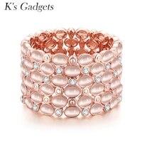 Gadgets de K Cor de Rosa de ouro Opala e Pulseira Elástica Grande Pulseira Jóias Grande Strass Para As Mulheres Acrílico Grande pulseira