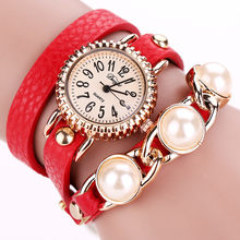 Duoya 2018 Womens Luxury Rhinestone Multilayer Femmes Mode Casual Bracelet En Cuir Montre-Bracelet Femmes Robe dropshipping(China)