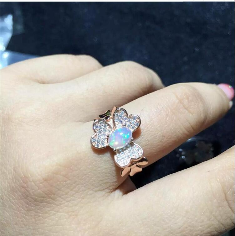 Free Shipping Fashion Ring REAL S925 sterling silver inlaid Natural OPal ring 5*7mm sweet faux opal inlaid kitten shape ring for women
