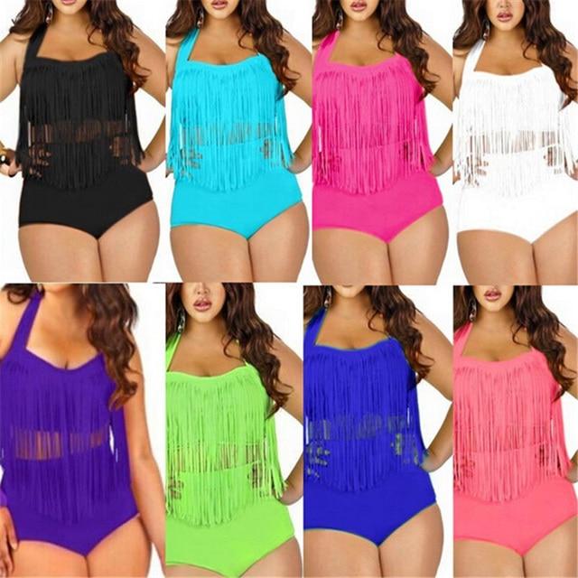 2ce161cde5e US $11.66 20% OFF|YCDYZ Sezy Plus Size Women High Waisted Bikini Retro  Vintage Fringe Tassel Tops Push Up Bandeau Rockabilly Swimwear Swimsuit -in  ...