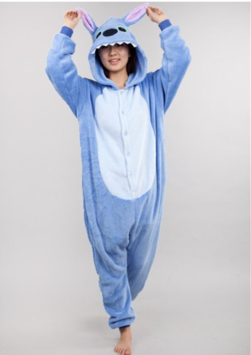 Anime Pijama Cartoon Unisex Adult stitch Pajamas Cartoon Cosplay Costume Animal Onesie Sleepwear Blue stitch Animal pajamas