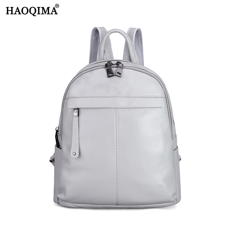 HAOQIMA Famous Brand Designer Female 100% Genuine Cow Leather Real Cowhide Backpack Women Fashion Soft Cowhide School ipad Bag real cowhide genuine leather backpack women s bag vintage designer girls travel school bags famous brand female laptop rucksack