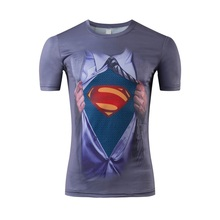 Superman T-shirt young people personality 3D printing spoof t-shirts euramerican fashion men's tight T-shirts with short sleeves