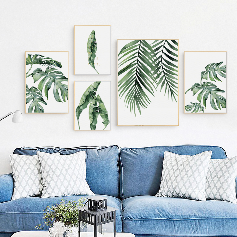 Nordic Watercolor Tropical Green Plant Turtle Leaf Banana