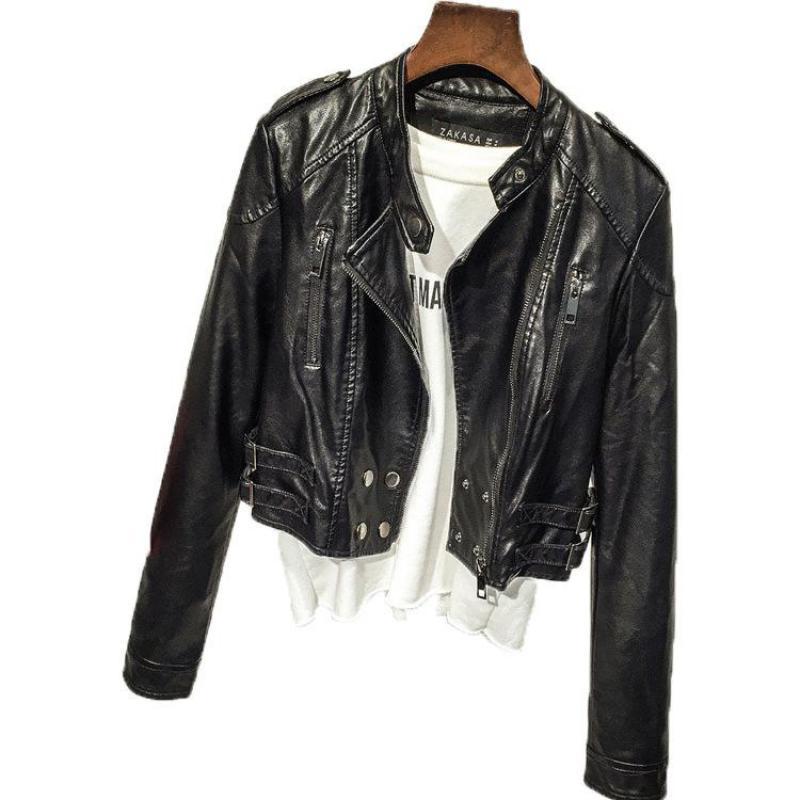 2019 New Women Spring Autumn Casual Black Bomber Jacket Feminino Ladies Pu Coat Short Long Sleeve Slim Bike Moto   Leather   Jacket
