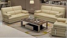 Conjunto muebles sofá sala de estar, sofá de cuero de vaca auténtico, canapé, 2 + 3 asientos