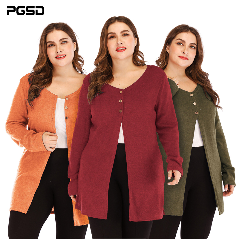 PGSD Autumn winter solid simple Big size Women clothes Button Knitted sweater Fork opening Casual Long sleeve soft Cardigan XXXL