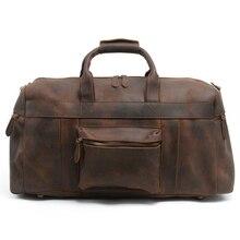 Men Crazy Horse Leather Travel Bag Genuine Leather Luggage Bag Vintage Cow Leather Handbag Large Capacity Travel Luggage Bag