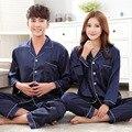 Más Tamaño Pijamas de Seda de Las Mujeres Pijamas Homewear ropa de Noche de La Manga Completa 2 Unidades de Seda Hombres Turn-down Collar Pareja Conjuntos de pijamas