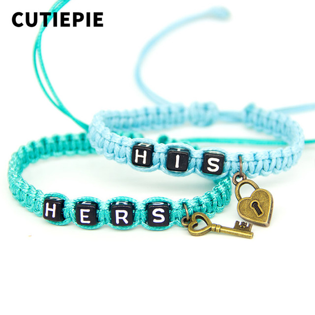 2pcs/pair Fashionable Romantic Couple Bracelets Blue His And Hers With Key Lock Rope Chains Lovers Gift Handmade Charm Bracelet