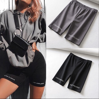 High Waist Fashion biker fitness casual cotton black Shorts